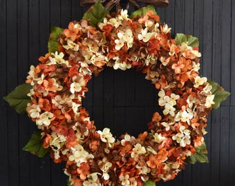 Orange Brown and Cream Fall Blended Hydrangea Front Door Wreath