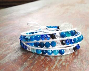 Wrapp Bracelet,Bohemian bracelet, Boho bracelet, Blue Agate,Bead bracelet, Jewellry, Gypsy , gift for her