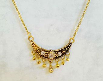Vintage style Retro Necklace, Boho Necklace, Necklace with Pendant, Bohemian Necklace, Moon Necklace