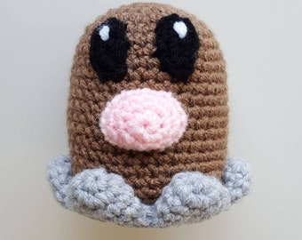 READY TO SHIP - Crocheted Diglett Amigurumi
