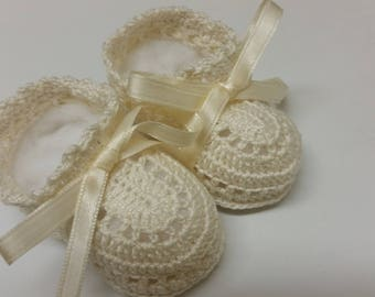 Crochet Baby Booties - Baby Booties Crochet - Baby Boy Booties - Christening Shoes - Baby Shower Gift - Light Ecru - Newborn Baby - Reborn