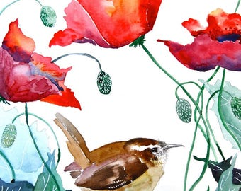 """Watercolor Painting, Wren with Poppies, Print, 8""""x10"""""""