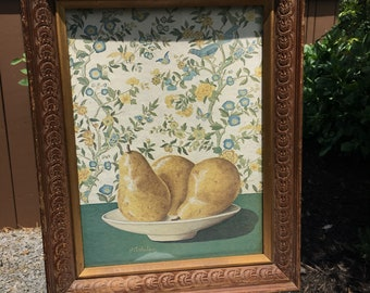 B Arhelger Picture/Golden Pears/Ornate Wood Frame