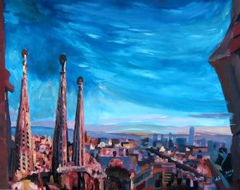 Barcelona City View and Sagrada Familia - Limited Edition Fine Art Print