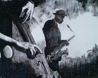 Prints - music 'charcoal blues' A3 prints from original drawings (A4 originals available.)