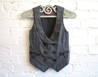 Gray Plaid Womens Vest Grey Steampunk Vest Checkered Waistcoat Size XS