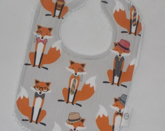 Gray Foxes and Chenille Bib