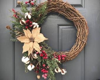 Poinsettia Wreath, Cotton Wreath, Christmas Poinsettia, Burlap, Christmas Decor, Gift for Her, Wreath with Cotton, Christmas Door Decor