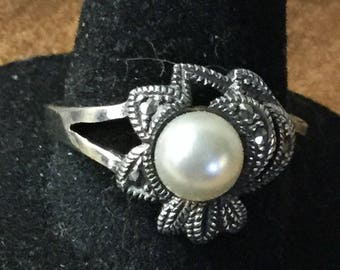 Splendid Faux Pearl Marcasite Sterling Silver Flower Ring Size 9 Signed 925 Thin Shank Flower Petals Tarnished Patina Feminine Statement