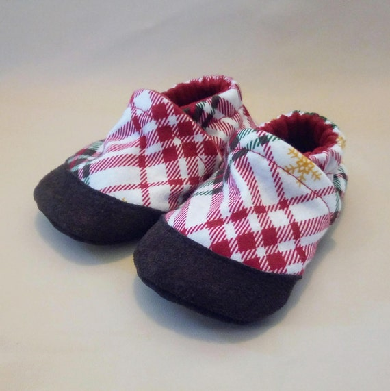 Plaid: Soft Sole Baby Shoes 6-12M