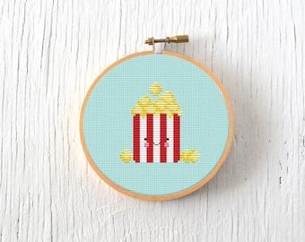 PDF Pattern - Buttery Popcorn Cross Stitch Pattern, Kawaii Popcorn Cross Stitch Pattern, Popcorn Embroidery Pattern