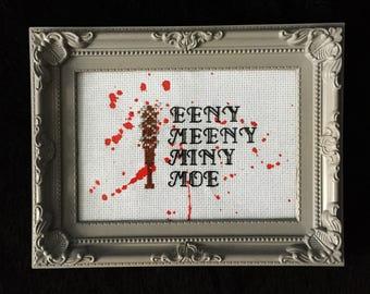 The Walking Dead Negan Bloody Baseball Bat Zombie Apocalypse Walkers Eeny Meeny Miny Moe Blood Splatter cross stitch embroidery