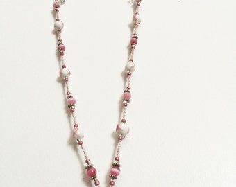 Breast Cancer Awareness Handmade Beaded Lanyard, Name Badge, ID Holder, Magnetic Clasp, Heart, Pink