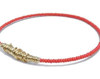 Beaded Bracelet // Coral Pink Gold Bangle Bracelet // Eco-Friendly Jewelry // Bridesmaid Gift // Seed Bead Bracelet // Friendship Bracelet