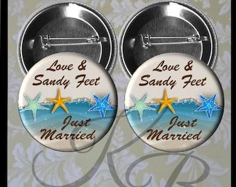 "Honeymoon Pins, 2.25"" Just Married Pins, Love & Sandy Feet, Tropical Honeymoon, Beach Honeymoon, Bride and Groom Buttons, Wedding Keepsake"