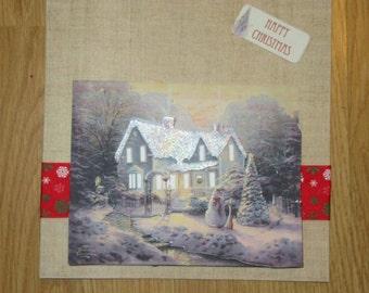Handmade decoupage snowy christmas scene card