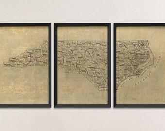 North Carolina Map, Antique Map Art Print Set, 1893, Archival Reproduction, Set of 3 Prints