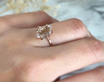 Engagement Ring, Rose Gold Engagement Ring, 14K Gold Ring, Promise Ring, Diamond Engagement Ring, Herkimer Ring, Herkimer Diamond