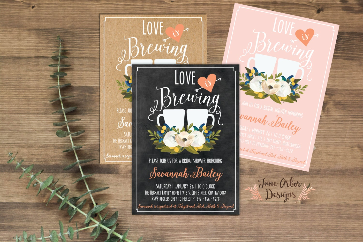Love Is Brewing Bridal Shower Invitation Printable Pdf Or