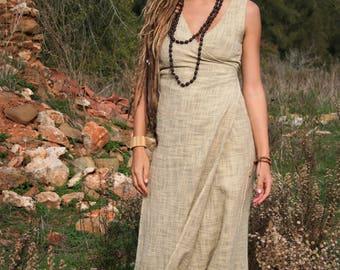 Gypsy Goddess Wrap Dress Raw Natural Cotton