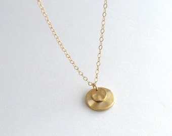 Layered Gold Disc Necklace, Double Gold Disc Necklace, Minimalist Gold Necklace - 14k Gold Fill Chain
