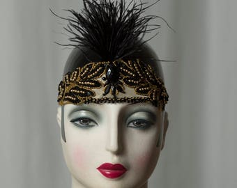 Special headdress in * Great Gatsby * Flapper style, 20s/20s party, Charleston outfit, Glamour, headband, Headpiece, feather