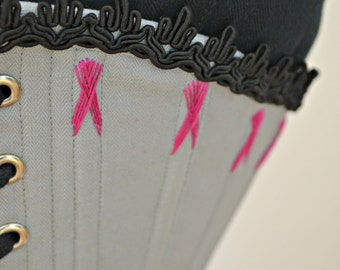 """Victorian Corset - 20"""" Waist, Grey with Pink Flossing"""