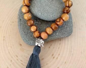 Olive Wood Tassel Bracelet
