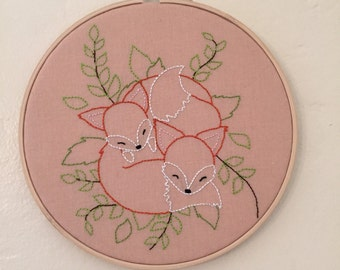 Cuddling Foxes embroidery hoop art