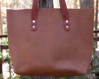 Leather Tote, Whiskey Bandito, Leather Tote Bag, Unlined Leather, Raw Edge Leather