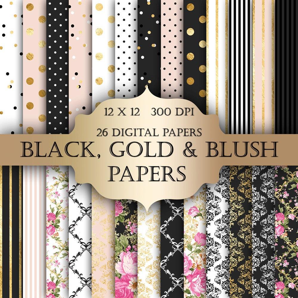 Gold Foil Shabby Chic Digital Papers Black Polka Dot