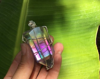 Angel Aura Quartz Necklace, Angel Aura Quartz, Angel Aura Crystal, Aura Quartz, Aura Quartz Necklace, Aura Crystal, Aura