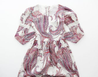 Vintage dress // 1970's long white glittery paisley print