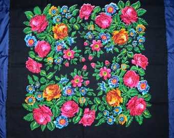 very beautiful ukranian  scarf with big roses on it