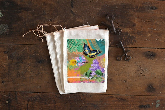 Butterfly Muslin Bags - Art Bag - Pouch - Gift Bag - 5x7 bag - Party Favor - Crystal pouch