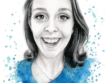 Custom portrait from photo painting illustration, personalised portrait