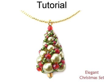 Simple Bead Patterns - Beading Tutorials and Patterns - Beaded Christmas Earrings Necklace - Russian Spiral - Elegant Christmas Set #17158