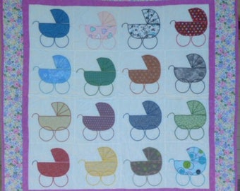 Baby Quilt with Old-Fashioned Strollers or Prams - Pink and Gray