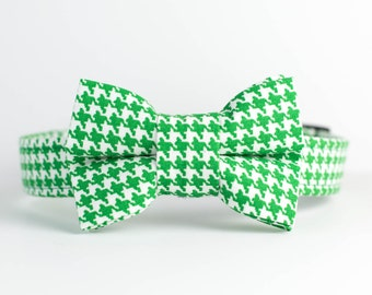 Holiday Christmas Dog Collar with Bowtie - Green Houndstooth