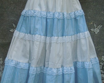 Blue gingham skirt vintage 50's white pin up cosplay Dorothy halloween  small from vintage opulence on Etsy