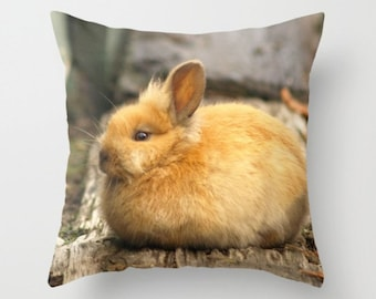 Brown Eyed Baby Bunny Beauty Pillow Cover At The Farm Sweet Brown Bunny Sweet Things Woodland Forest Print Woodland Creature Baby Bunny