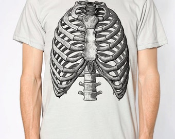 Mens vintage ribs anatomy t shirt- american apparel silver- available in S, M, L and XL- Worldwide Shipping