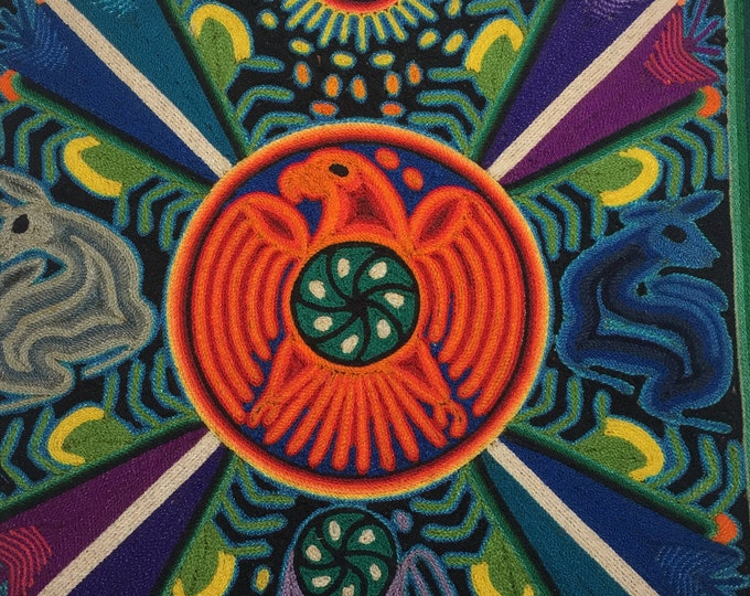 "Huichol Yarn Art - 12""x 12"" Tablet -  Santos Daniel Carrilo Jimenez"