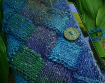 Shades of Blue, Green & Purple Knitted Entrelac Kindle, Nook, or Tablet Cover - Wool Silk Blend with Wooden Button