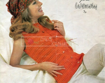 Lady's Sleeveless Sweater Waistcoat DK 32-36in. Wendy 1738 Crochet Pattern PDF instant download