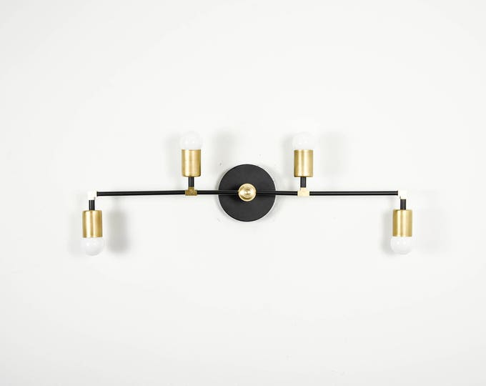 Wall Sconce Vanity 4 Light Wall Sconce Black and Brass Gold 4 Bulb Modern Mid Century Industrial Light Bathroom Vanity UL Listed
