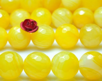 37 pcs of Yellow Banded Agate Faceted round beads in 10mm