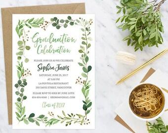 Floral Graduation Invitation, Graduation Party Invitation, Class of 2018 Invitation, Wreath Graduation Invitation