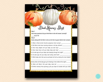 Modern Pumpkin Dad knows best baby shower game, Pumpkin Baby Shower Game Printable, Fall, Autumn Baby Shower Game TLC463