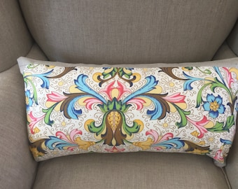 Vintage Bright Floral Fabric Cushion Cover 30cm x 60cm with an EST French Linen Framing and Backing